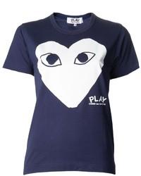 dunkelblaues bedrucktes T-Shirt mit einem Rundhalsausschnitt von Comme des Garcons