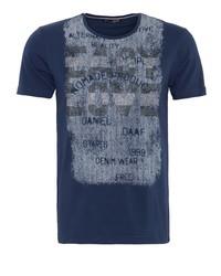 dunkelblaues bedrucktes T-Shirt mit einem Rundhalsausschnitt von DANIEL DAAF