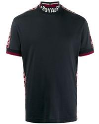 dunkelblaues bedrucktes T-Shirt mit einem Rundhalsausschnitt von Dolce & Gabbana