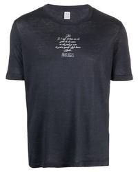 dunkelblaues bedrucktes T-Shirt mit einem Rundhalsausschnitt von Eleventy