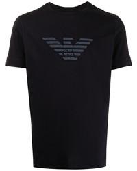 dunkelblaues bedrucktes T-Shirt mit einem Rundhalsausschnitt von Emporio Armani