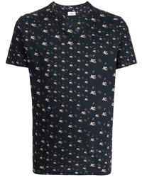 dunkelblaues bedrucktes T-Shirt mit einem Rundhalsausschnitt von Etro