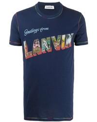 dunkelblaues bedrucktes T-Shirt mit einem Rundhalsausschnitt von Lanvin