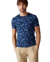 dunkelblaues bedrucktes T-Shirt mit einem Rundhalsausschnitt von Marc O'Polo