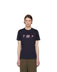 dunkelblaues bedrucktes T-Shirt mit einem Rundhalsausschnitt von Moncler