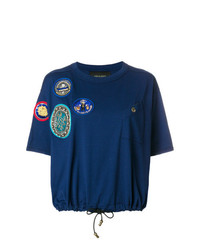 dunkelblaues bedrucktes T-Shirt mit einem Rundhalsausschnitt von Mr & Mrs Italy