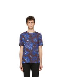dunkelblaues bedrucktes T-Shirt mit einem Rundhalsausschnitt von Paul Smith