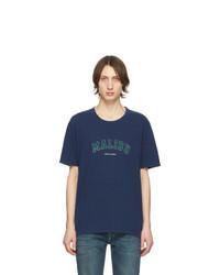 dunkelblaues bedrucktes T-Shirt mit einem Rundhalsausschnitt von Saint Laurent