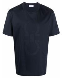 dunkelblaues bedrucktes T-Shirt mit einem Rundhalsausschnitt von Salvatore Ferragamo