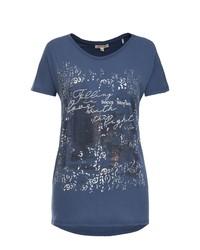 dunkelblaues bedrucktes T-Shirt mit einem Rundhalsausschnitt von SOCCX