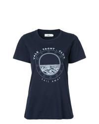 dunkelblaues bedrucktes T-Shirt mit einem Rundhalsausschnitt von Vale