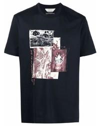 dunkelblaues bedrucktes T-Shirt mit einem Rundhalsausschnitt von Z Zegna