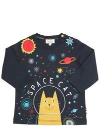 dunkelblaues bedrucktes T-shirt