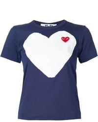 dunkelblaues bedrucktes T-shirt von Comme des Garcons
