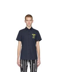 dunkelblaues besticktes Kurzarmhemd von Moschino