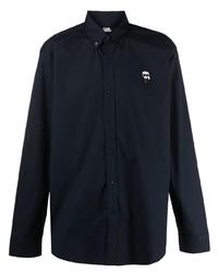 dunkelblaues besticktes Langarmhemd von Karl Lagerfeld