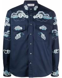 dunkelblaues besticktes Langarmhemd von Lanvin
