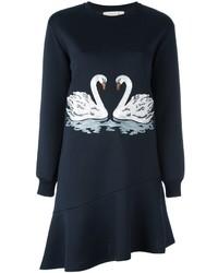 dunkelblaues besticktes Sweatkleid von Stella McCartney