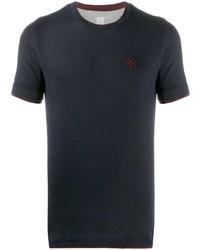 dunkelblaues besticktes T-Shirt mit einem Rundhalsausschnitt von Eleventy