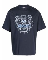 dunkelblaues besticktes T-Shirt mit einem Rundhalsausschnitt von Kenzo