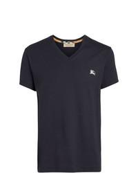 dunkelblaues besticktes T-Shirt mit einem V-Ausschnitt von Burberry