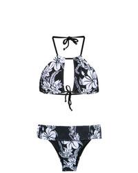 dunkelblaues Bikinioberteil mit Blumenmuster von Amir Slama