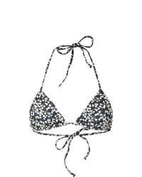 dunkelblaues Bikinioberteil mit Blumenmuster von Matteau