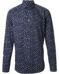 dunkelblaues Businesshemd mit Blumenmuster