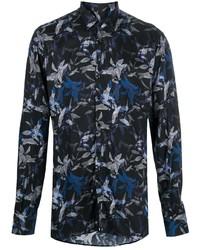 dunkelblaues Businesshemd mit Blumenmuster von Karl Lagerfeld