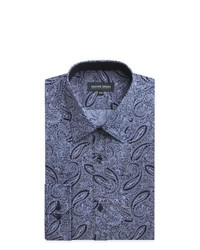 dunkelblaues Businesshemd mit Paisley-Muster