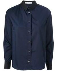 dunkelblaues Businesshemd von Sacai