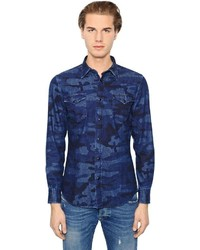 dunkelblaues Camouflage Jeanshemd