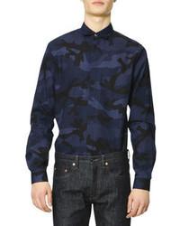 dunkelblaues Camouflage Langarmhemd