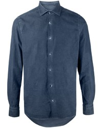 dunkelblaues Chambray Businesshemd von Boglioli