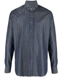 dunkelblaues Chambray Businesshemd von Tagliatore