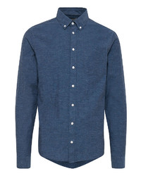 dunkelblaues Chambray Langarmhemd von CASUAL FRIDAY