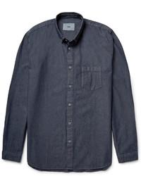 dunkelblaues Chambray Langarmhemd von Folk