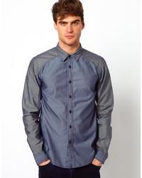 dunkelblaues Chambray Langarmhemd von Izzue