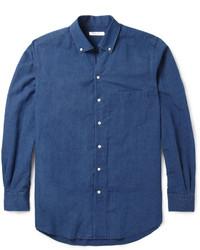 dunkelblaues Chambray Langarmhemd von Loro Piana