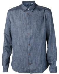 dunkelblaues Chambray Langarmhemd von Paul Smith