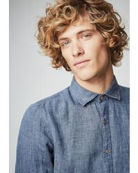 dunkelblaues Chambray Langarmhemd von PIERRE CARDIN Leinenhemd in Jeans-Optik - Slim Fit