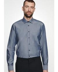dunkelblaues Chambray Langarmhemd von Seidensticker