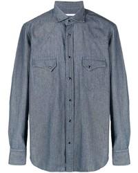 dunkelblaues Chambray Langarmhemd von Tagliatore