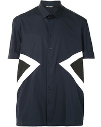 dunkelblaues Kurzarmhemd mit Chevron-Muster von Neil Barrett