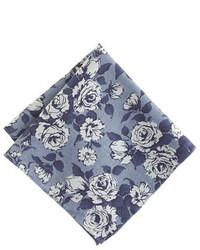 dunkelblaues Einstecktuch mit Blumenmuster