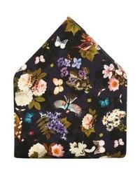 dunkelblaues Einstecktuch mit Blumenmuster von Eton