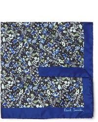 dunkelblaues Einstecktuch mit Blumenmuster von Paul Smith