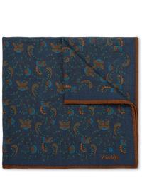 dunkelblaues Einstecktuch mit Paisley-Muster