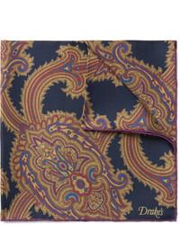 dunkelblaues Einstecktuch mit Paisley-Muster von Drakes