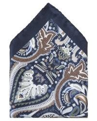 dunkelblaues Einstecktuch mit Paisley-Muster von Eton